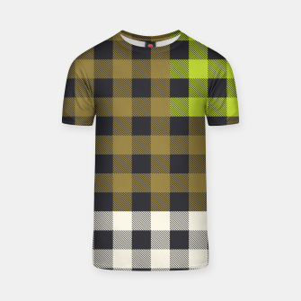 Thumbnail image of PATCHWORK BUFFALO CHECK IN ARMY GREEN T-shirt, Live Heroes