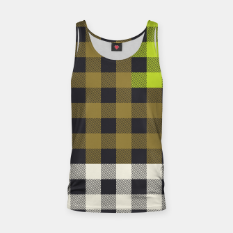 Thumbnail image of PATCHWORK BUFFALO CHECK IN ARMY GREEN Tank Top, Live Heroes