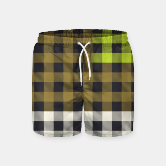 Thumbnail image of PATCHWORK BUFFALO CHECK IN ARMY GREEN Swim Shorts, Live Heroes