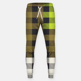 Thumbnail image of PATCHWORK BUFFALO CHECK IN ARMY GREEN Sweatpants, Live Heroes