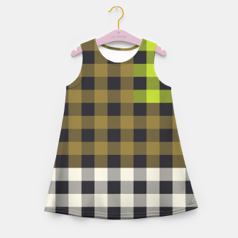 Thumbnail image of PATCHWORK BUFFALO CHECK IN ARMY GREEN Girl's summer dress, Live Heroes