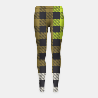 Thumbnail image of PATCHWORK BUFFALO CHECK IN ARMY GREEN Girl's leggings, Live Heroes