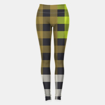 Thumbnail image of PATCHWORK BUFFALO CHECK IN ARMY GREEN Leggings, Live Heroes