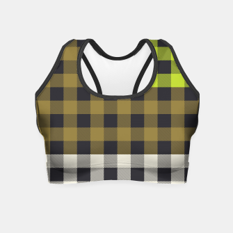 Thumbnail image of PATCHWORK BUFFALO CHECK IN ARMY GREEN Crop Top, Live Heroes