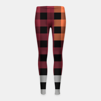 Imagen en miniatura de PATCHWORK BUFFALO CHECK IN RED Girl's leggings, Live Heroes