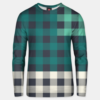 Thumbnail image of PATCHWORK BUFFALO CHECK IN TEAL Unisex sweater, Live Heroes