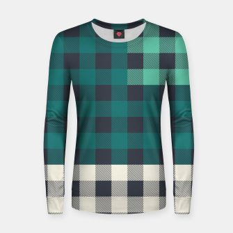 Imagen en miniatura de PATCHWORK BUFFALO CHECK IN TEAL Women sweater, Live Heroes