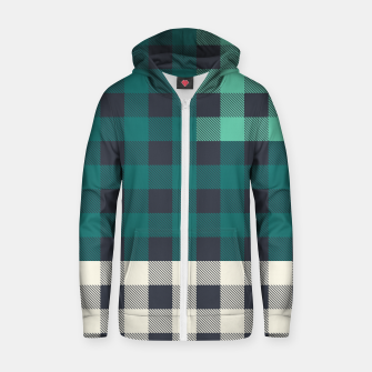 Imagen en miniatura de PATCHWORK BUFFALO CHECK IN TEAL Zip up hoodie, Live Heroes