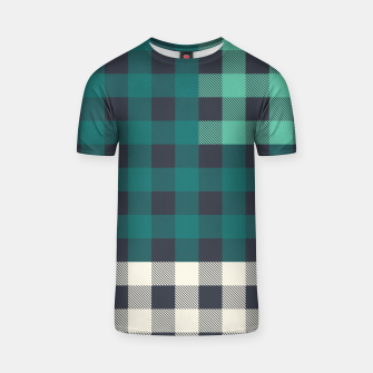 Thumbnail image of PATCHWORK BUFFALO CHECK IN TEAL T-shirt, Live Heroes