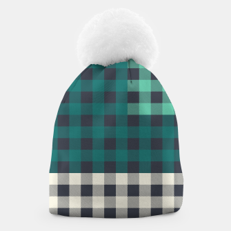 Thumbnail image of PATCHWORK BUFFALO CHECK IN TEAL Beanie, Live Heroes