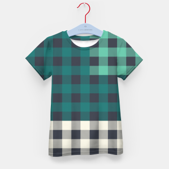 Imagen en miniatura de PATCHWORK BUFFALO CHECK IN TEAL Kid's t-shirt, Live Heroes