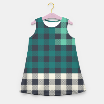 Imagen en miniatura de PATCHWORK BUFFALO CHECK IN TEAL Girl's summer dress, Live Heroes