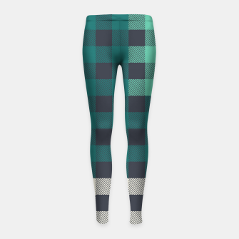 Imagen en miniatura de PATCHWORK BUFFALO CHECK IN TEAL Girl's leggings, Live Heroes