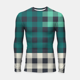 Thumbnail image of PATCHWORK BUFFALO CHECK IN TEAL Longsleeve rashguard , Live Heroes