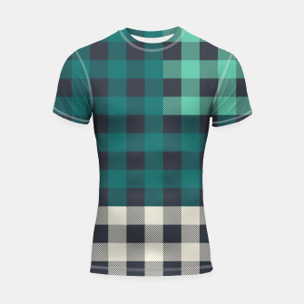 Thumbnail image of PATCHWORK BUFFALO CHECK IN TEAL Shortsleeve rashguard, Live Heroes