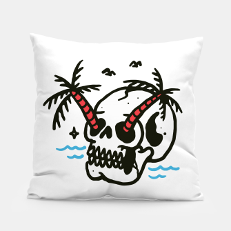 Thumbnail image of Skull Coconut Trees Pillow, Live Heroes