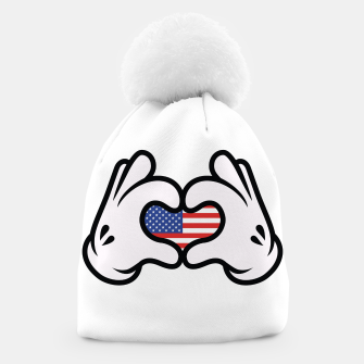 Thumbnail image of Hand Symbol of Love America Beanie, Live Heroes