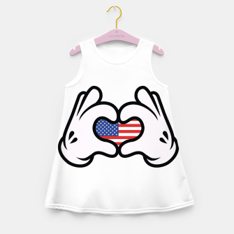 Thumbnail image of Hand Symbol of Love America Girl's summer dress, Live Heroes