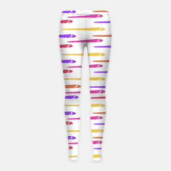 Miniaturka Cartoon Style Snakes Drawing Motif Pattern Girl's leggings, Live Heroes