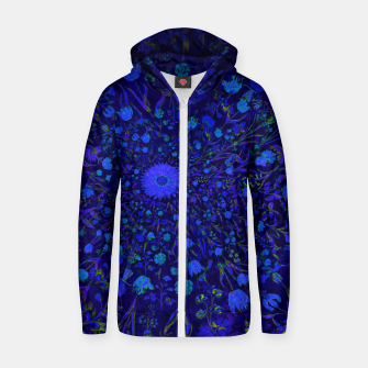 Miniatur Blue Medieval Flowers Zip up hoodie, Live Heroes