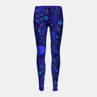 Miniatur Blue Medieval Flowers Girl's leggings, Live Heroes