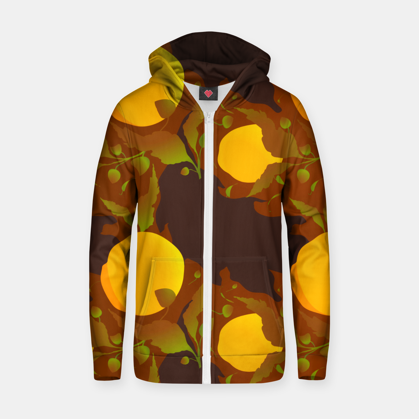 Image of Closed roses bud on brown Sudadera con capucha y cremallera  - Live Heroes