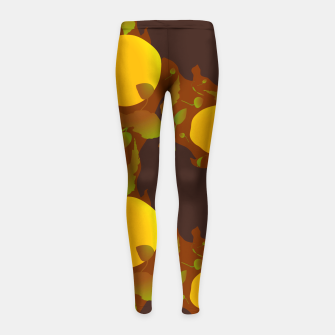 Closed roses bud on brown Leggings para niña thumbnail image