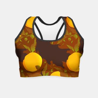 Thumbnail image of Closed roses bud on brown Crop Top, Live Heroes