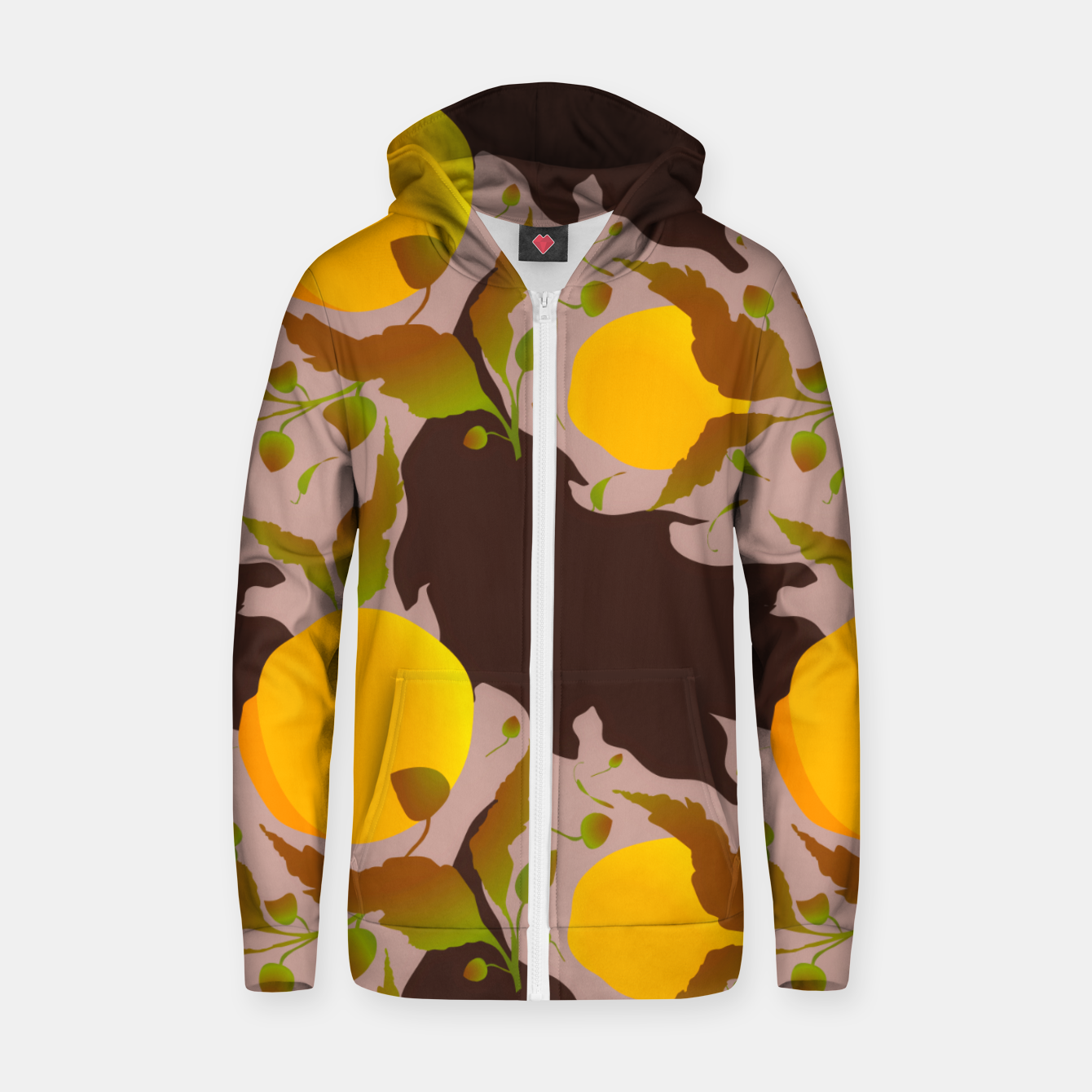 Image of Closed roses bud on light brown Sudadera con capucha y cremallera  - Live Heroes