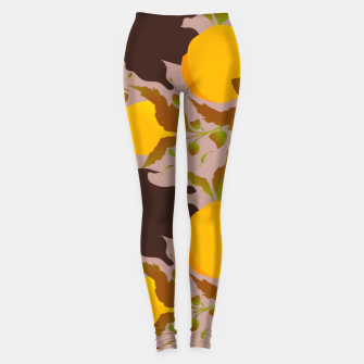 Thumbnail image of Closed roses bud on light brown Leggings, Live Heroes