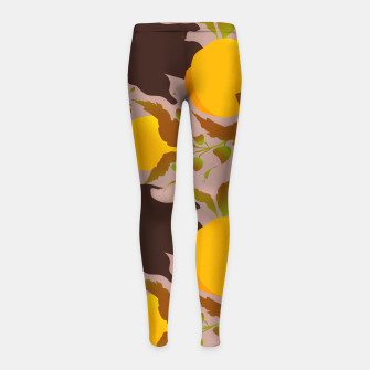 Thumbnail image of Closed roses bud on light brown Leggings para niña, Live Heroes