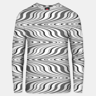 Thumbnail image of Moving curves optical illusion, black and white ikat pattern Unisex sweater, Live Heroes