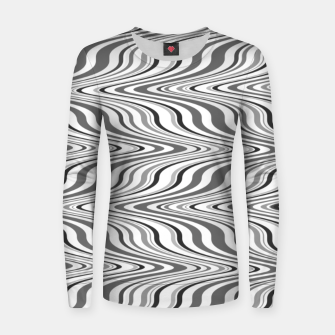 Thumbnail image of Moving curves optical illusion, black and white ikat pattern Women sweater, Live Heroes