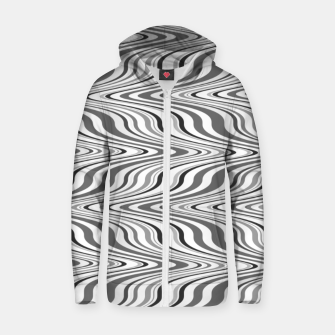 Thumbnail image of Moving curves optical illusion, black and white ikat pattern Zip up hoodie, Live Heroes