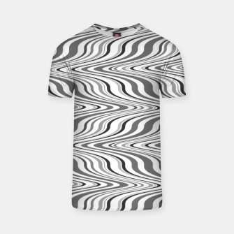 Thumbnail image of Moving curves optical illusion, black and white ikat pattern T-shirt, Live Heroes