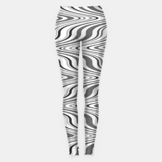 Thumbnail image of Moving curves optical illusion, black and white ikat pattern Leggings, Live Heroes
