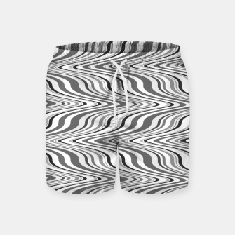 Thumbnail image of Moving curves optical illusion, black and white ikat pattern Swim Shorts, Live Heroes