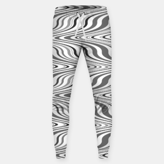 Thumbnail image of Moving curves optical illusion, black and white ikat pattern Sweatpants, Live Heroes