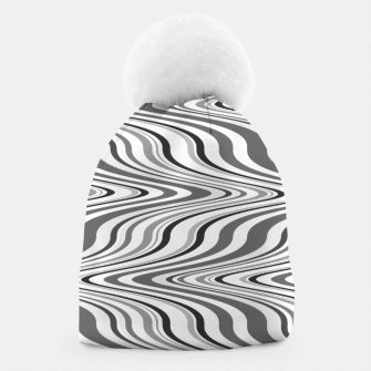 Thumbnail image of Moving curves optical illusion, black and white ikat pattern Beanie, Live Heroes