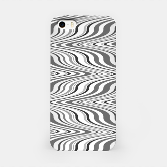 Thumbnail image of Moving curves optical illusion, black and white ikat pattern iPhone Case, Live Heroes