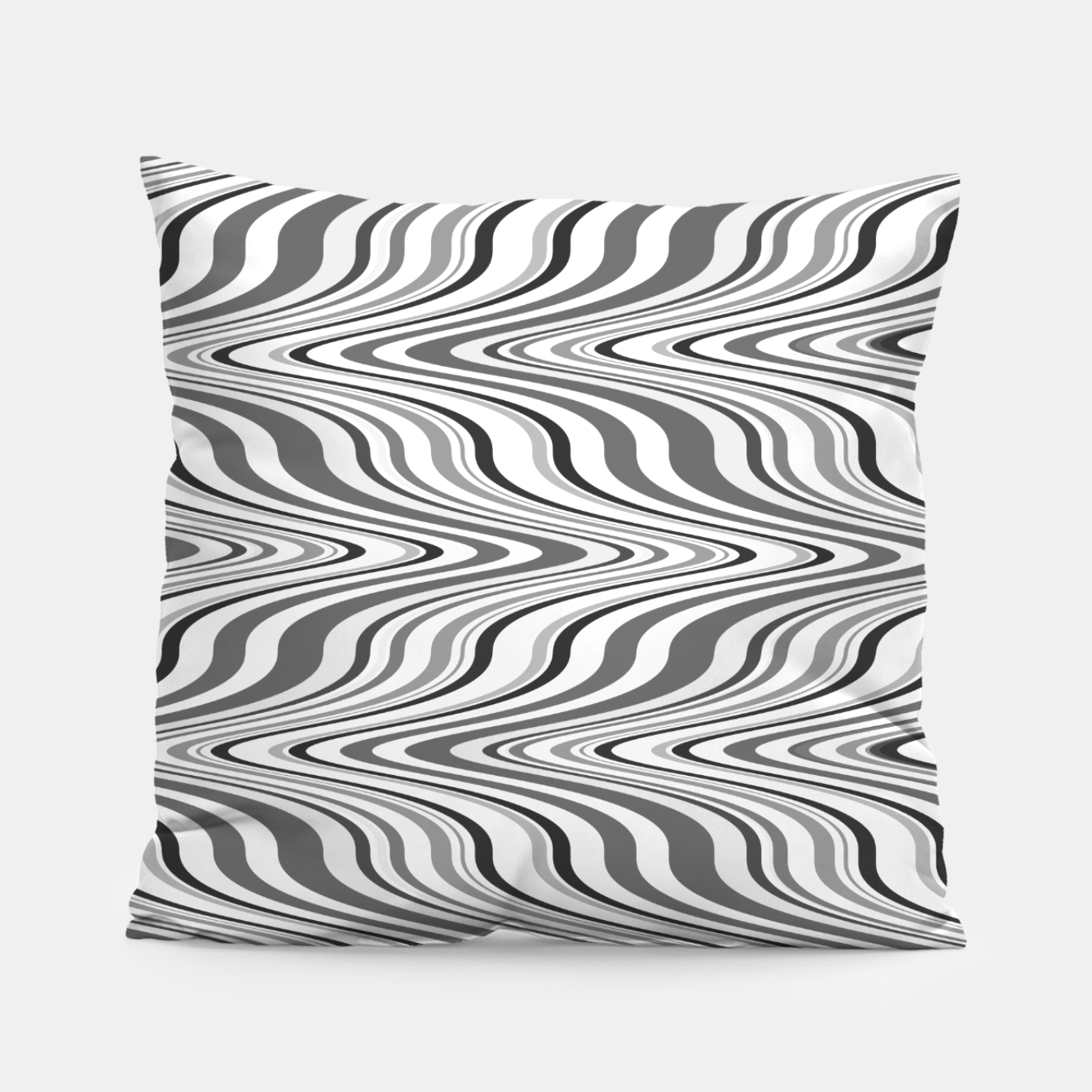 Foto Moving curves optical illusion, black and white ikat pattern Pillow - Live Heroes