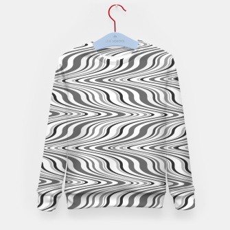 Thumbnail image of Moving curves optical illusion, black and white ikat pattern Kid's sweater, Live Heroes