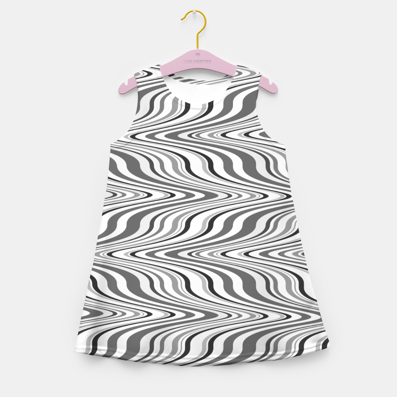 Foto Moving curves optical illusion, black and white ikat pattern Girl's summer dress - Live Heroes