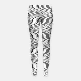 Thumbnail image of Moving curves optical illusion, black and white ikat pattern Girl's leggings, Live Heroes
