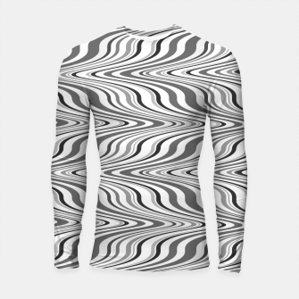 Thumbnail image of Moving curves optical illusion, black and white ikat pattern Longsleeve rashguard , Live Heroes