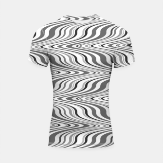 Thumbnail image of Moving curves optical illusion, black and white ikat pattern Shortsleeve rashguard, Live Heroes