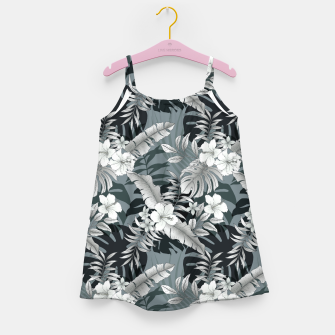 Thumbnail image of TROPICAL VACATION PRINT IN GREY Girl's dress, Live Heroes
