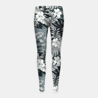 Thumbnail image of TROPICAL VACATION PRINT IN GREY Girl's leggings, Live Heroes