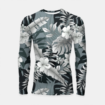 Thumbnail image of TROPICAL VACATION PRINT IN GREY Longsleeve rashguard , Live Heroes
