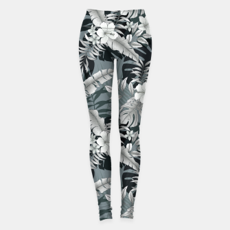 Thumbnail image of TROPICAL VACATION PRINT IN GREY Leggings, Live Heroes